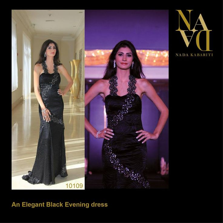An Elegant Black Evening Dress designed by Nada Kabariti. For orders contact: Jordan: 00962795086955 KSA & Bahrain: 00966597798178 Facebook: www.facebook.com/...
