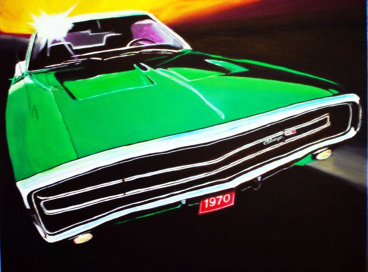Toile acrylique Dodge Charger 1970 par Christine Bélanger, artiste peintre www.artemo.ca
