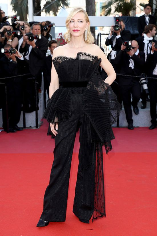 872da75d017 Cate Blanchett   Givenchy Black Strapless Jumpsuit with Pleated Lace  Detailing from the Spring 2018 Couture Collection   Chopard Jewelry