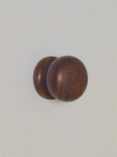 Mørkebrun silkemat lakeret træknop knage m. hals til bøjle og fast skrue, stor - EGNET TIL VÆG.