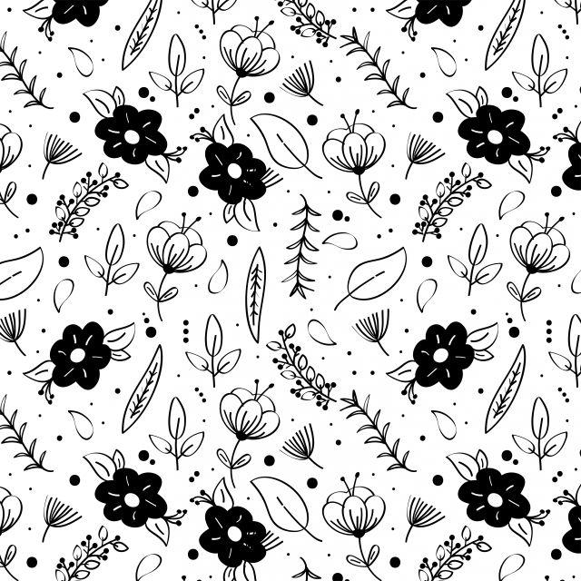 Gambar Hitam Dan Putih Bunga Corak Clipart Corak Hitam Dan Putih Bunga Png Dan Vektor Untuk Muat Turun Percuma Floral Pattern Vector Background Patterns Outline Drawings