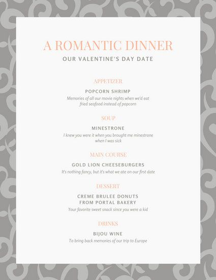 Gray and Peach Swirl Pattern Valentine's Day Food and Drink Menu