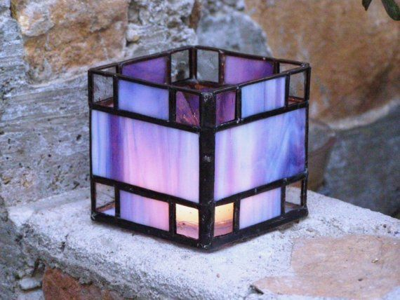 Blue-Purple Stained Glass Candle Holder