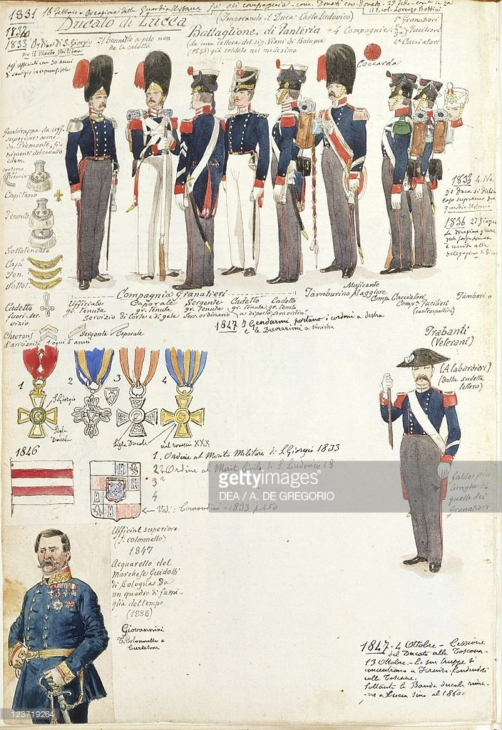 Foto stock : Various uniforms of Duchy of Lucca by Quinto Cenni, color plate, 1831-1847