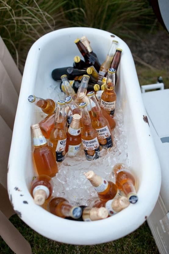Garden tub beer cooler.