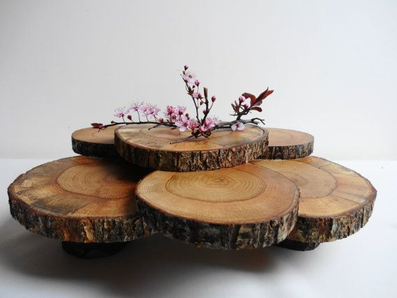 cupcake stand rustic centerpiece tree slices cupcake stand wood slice cupcake stand