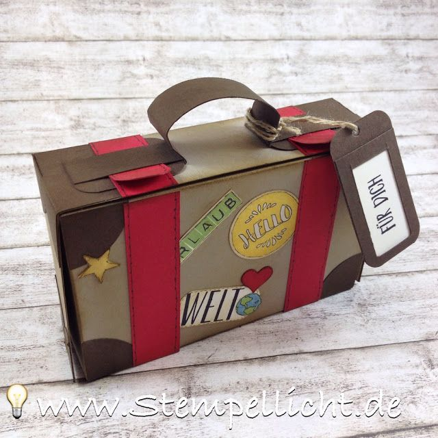 Stempellicht: Anleitung Koffer aus Papier für Geldgeschenk