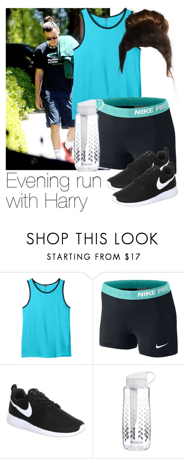 """""""Evening run with Harry"""" by style-with-one-direction ❤ liked on Polyvore featuring moda, NIKE, Brita, women's clothing, women, female, woman, misses, juniors i OneDirection"""