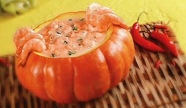 "Camarão na Moranga - which literally translates to ""Shrimp in a Pumpkin""."