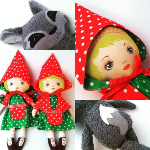 Once upon a time, one Little Red Riding Hood… Wait a moment, there are two at Hola Lotta! #littleredridinghood #fairytale #fabricdoll #handmadetoys