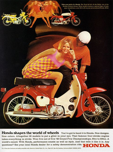 "1967 Magazine Advertisement  ""Honda shapes the world of wheels""  Honda  USA"