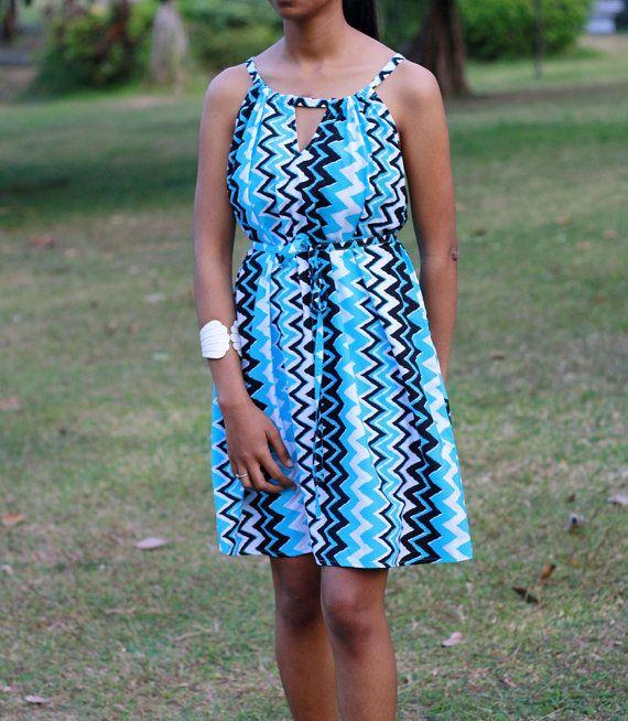 Aqua Blue Chevron Dress Mini Dress Cut Out Dress