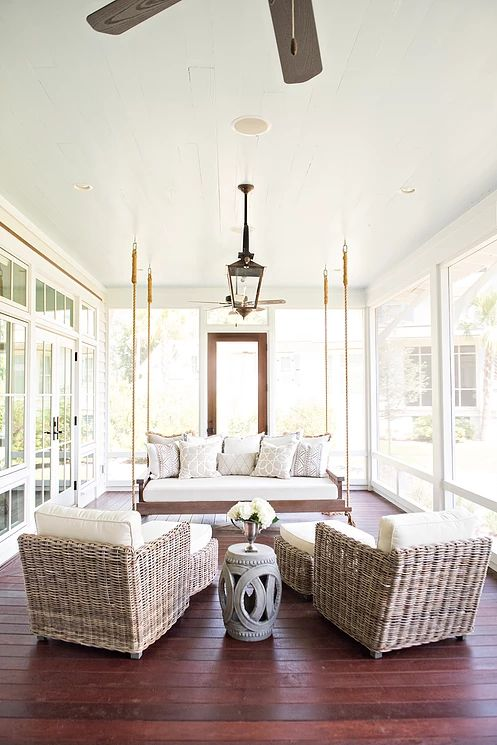 Stunning hanging porch bed in a covered porch