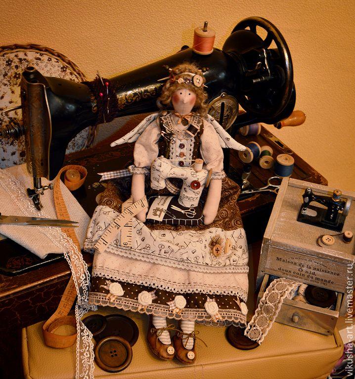 Купить Швейный Ангел (Фея) Альбина - коричневый, винтаж, рукоделие, швея, швейные принадлежности