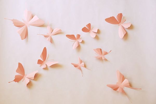 Consider adorning an otherwise plain backdrop of wall with these fun 3D Paper Butterfly Stickers. $18 for a set of 10 from Janniecut