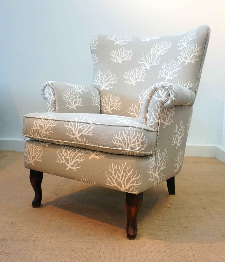 Coral pattern  on reupholstered fan back chair