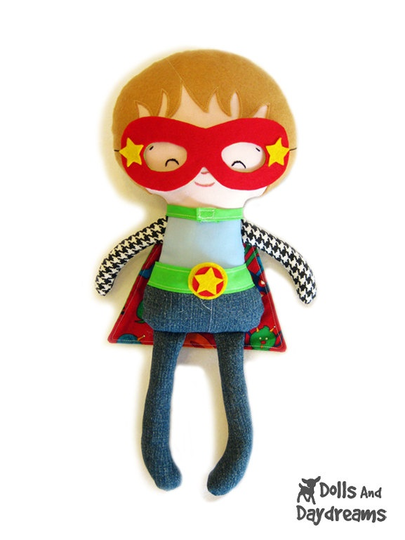 Superhero Sewing Pattern PDF - Removable Doll Glasses, reversible Mask, Cape, Belt included, Plus Glasses, Mask will fit your children too!