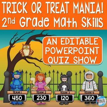 This editable Halloween theme math PowerPoint Jeopardy style game show is the perfect way to review beginning of the year math skills with 1st-2nd grade. There are 20 questions covering counting, comparing, place value, and addition and subtraction. There is even an optional Final Challenge question.