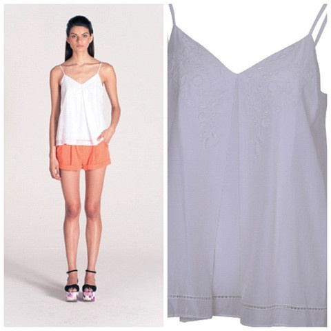 Pink Stitch Bisou top. Fresh for summer featuring embroidery. Perfect to team with shorts as pictured $64.90