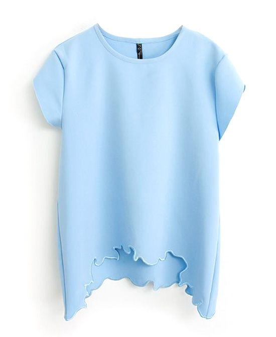 Pure Color Round Neck Blouse With Irregular Hem