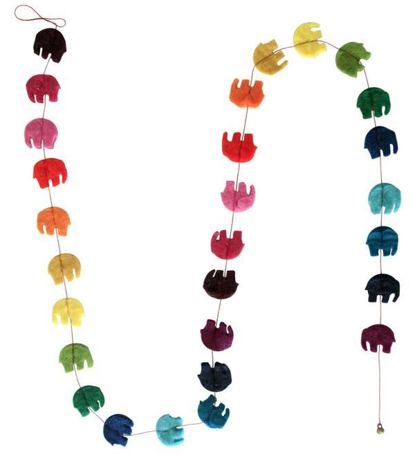 Hey-di, Hey-di-ho the great big elephant is so slow... it's a rainbow garland made from baby elephants! Fair trade felt baby and kids gift, nursery decor. Made in Nepal. $12.90