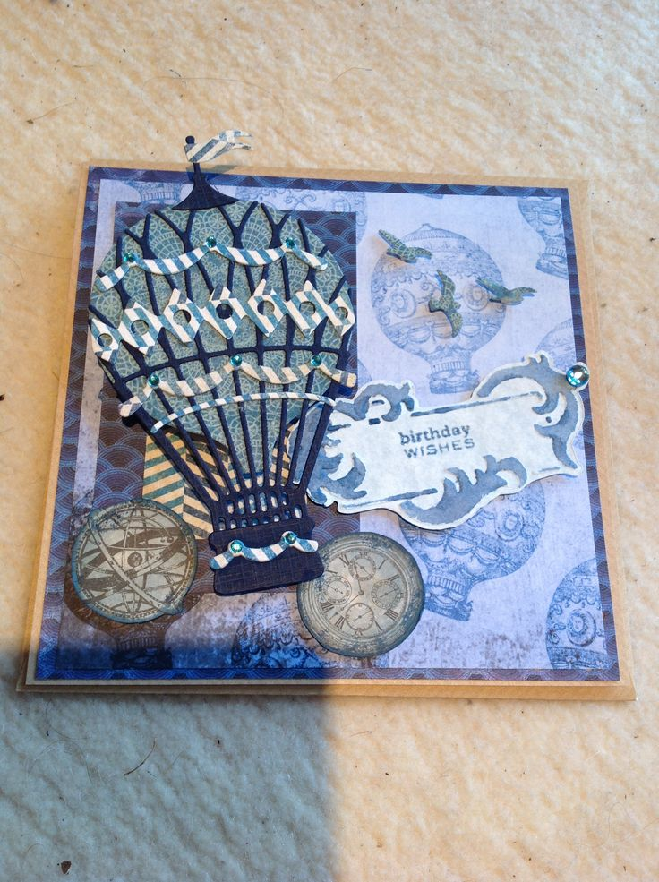Xcut create a scene balloon and birds, chronology papers, cuttlebug tag, distress inks, gems