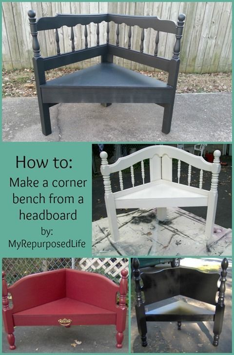 corner bench from a repurposed headboard; wooden furniture cottage style home decor; Upcycle, Recycle, Salvage, diy, thrift, flea, repurpose! For vintage ideas and goods shop at Estate ReSale & ReDesign, Bonita Springs, FL