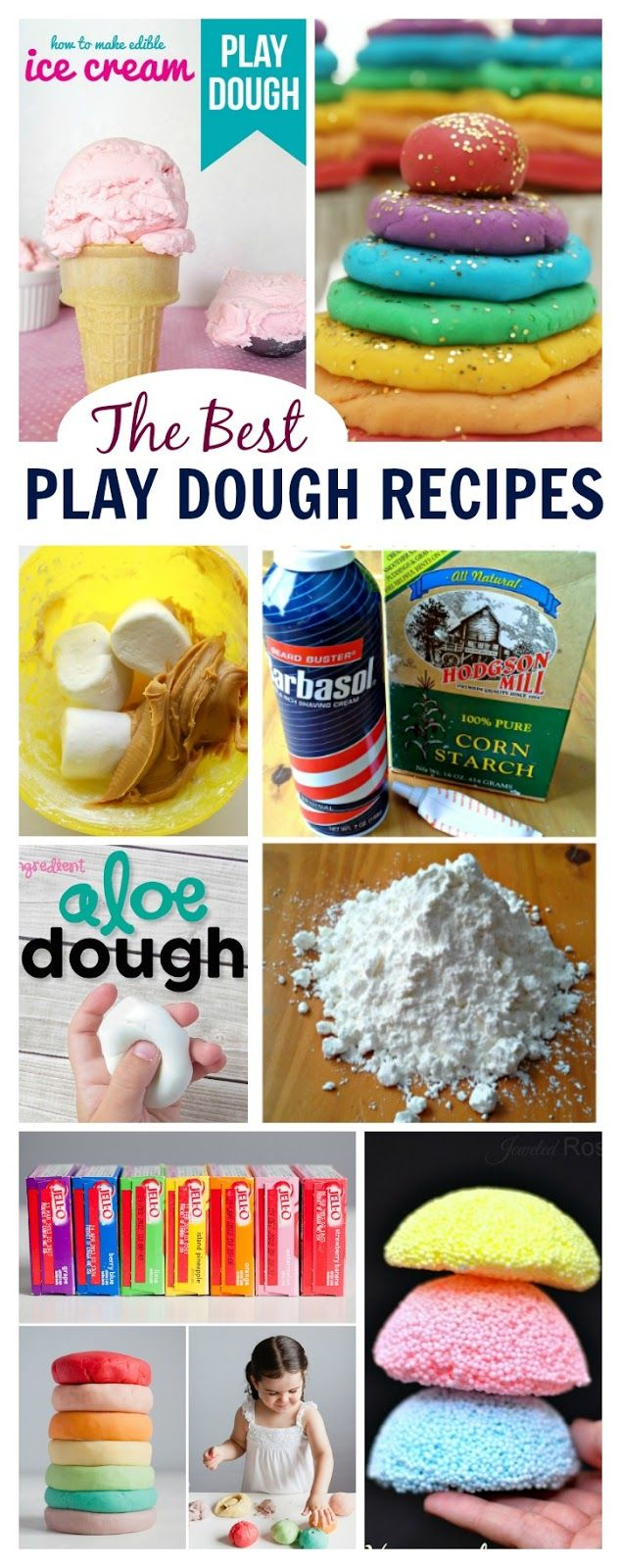 The very best play dough recipes for kids- FLOAM, foam dough, ice cream dough, galaxy dough, & more! Some I've never seen before!