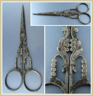 18th Century French Chased Wrought Iron Embroidery Scissors w/Fleur de Lis