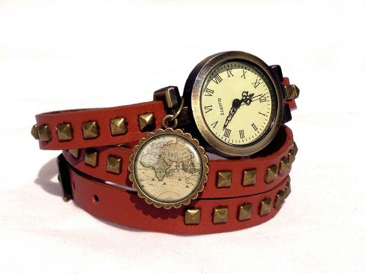Leather watch bracelet - World map, 0196WLBC  from EgginEgg by DaWanda.com