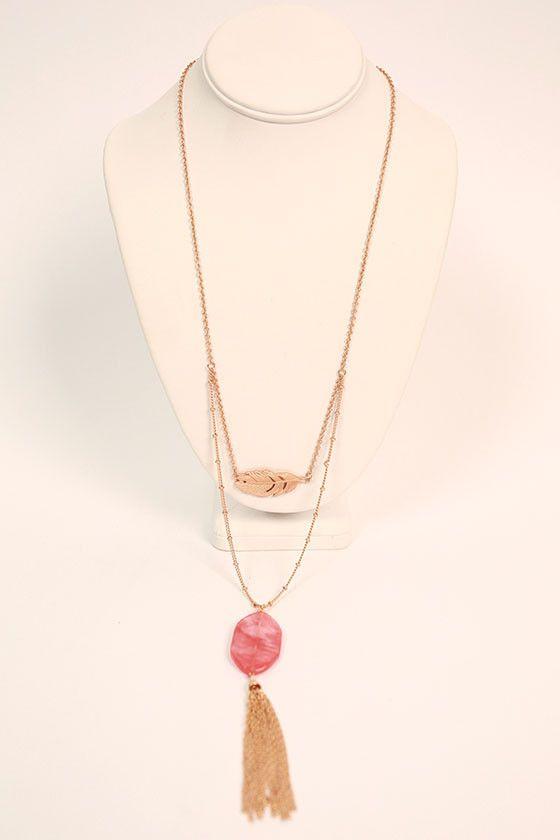 Brunch Hour Tassel Necklace in Coral