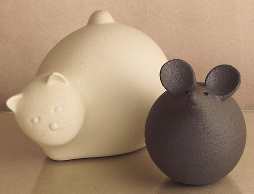 Cat and Mouse sculpture set, handcrafted in Italy of porcelainized gres (similar to ceramic) - The Museum Shop of The Art Institute of Chicago