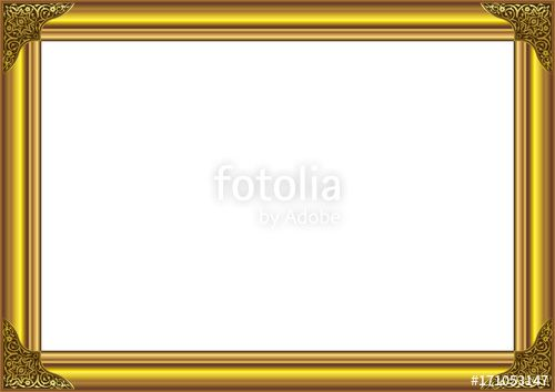 Vector: Gold Wood Frame with floral ornament on corner
