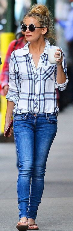 Kate Hudson white plaid Rails shirt, sunglasses, and rose gold flip flops- perfect for Charleston Style