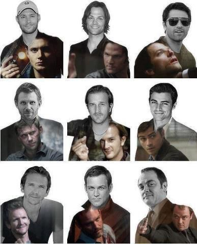 Jensen/Dean, Jared/Sam, Misha/Cas, Mark/Lucifer, Richard/Gabriel, Matt/John/Michael, Sebastian/Balthazar, Ty/Benny, Mark/Crowley - cool graphics!