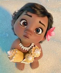 Baby Moana Looks at the Sky With Delicious Cream Disney Cartoon Collar Necklace On Hot Sale Now