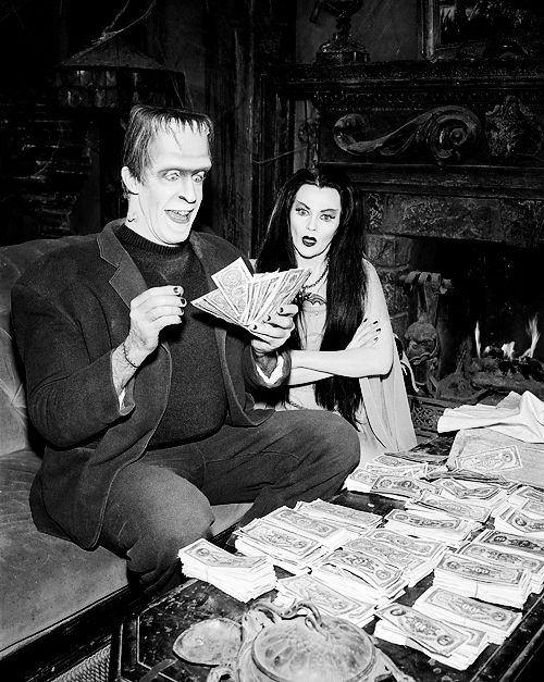"Money Bags Munster! Herman and Lily are in the money! From ""The Munsters""."