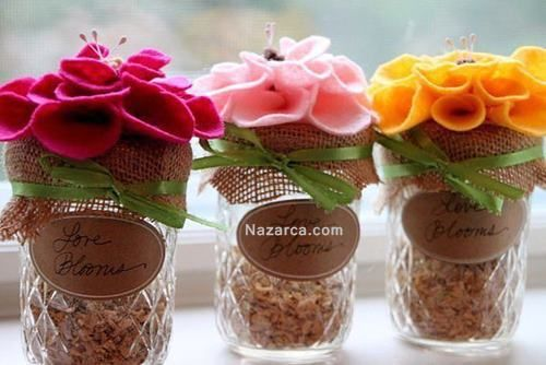 Keçe çiçeklerle kavanoz kapağı degerlendirme