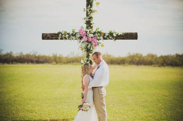 Christ-Centered Wedding Scene - Christian Wedding - cross altar idea for ceremony