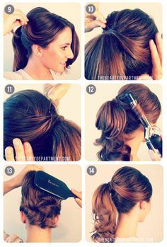 from TBD: separate front section of hair, pull the rest into a pony tail, then style and pull back the front for a styled ponytail