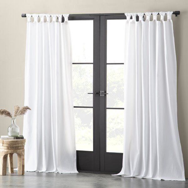 Nolan Washed Cotton Casual Solid Semi Sheer Tab Top Kitchen Curtain Panel Curtains Curtains Colorful Curtains