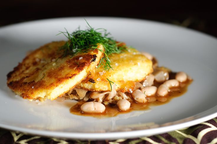 Crisp Polenta Cakes with Braised Cabbage and White Beans - Add a light salad and dinner is ready