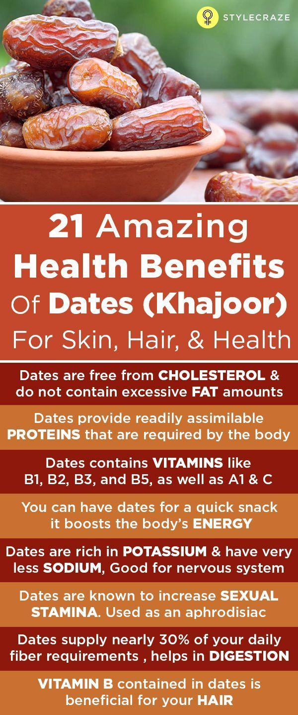 Dates are packed with a host of nutrients that provide several benefits for the skin and hair, and for your overall health. They are also known to improve eyesight and night blindness. Dates have no side effects and can be easily included in your diet.