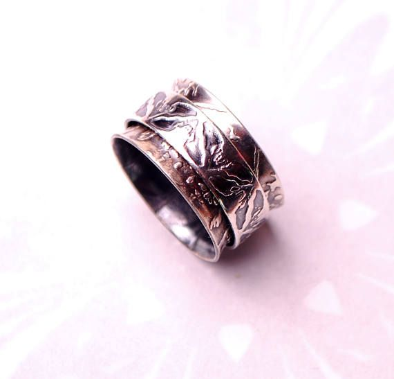 spinner ring silver bat ring gothic wedding ring wiccan - Wiccan Wedding Rings