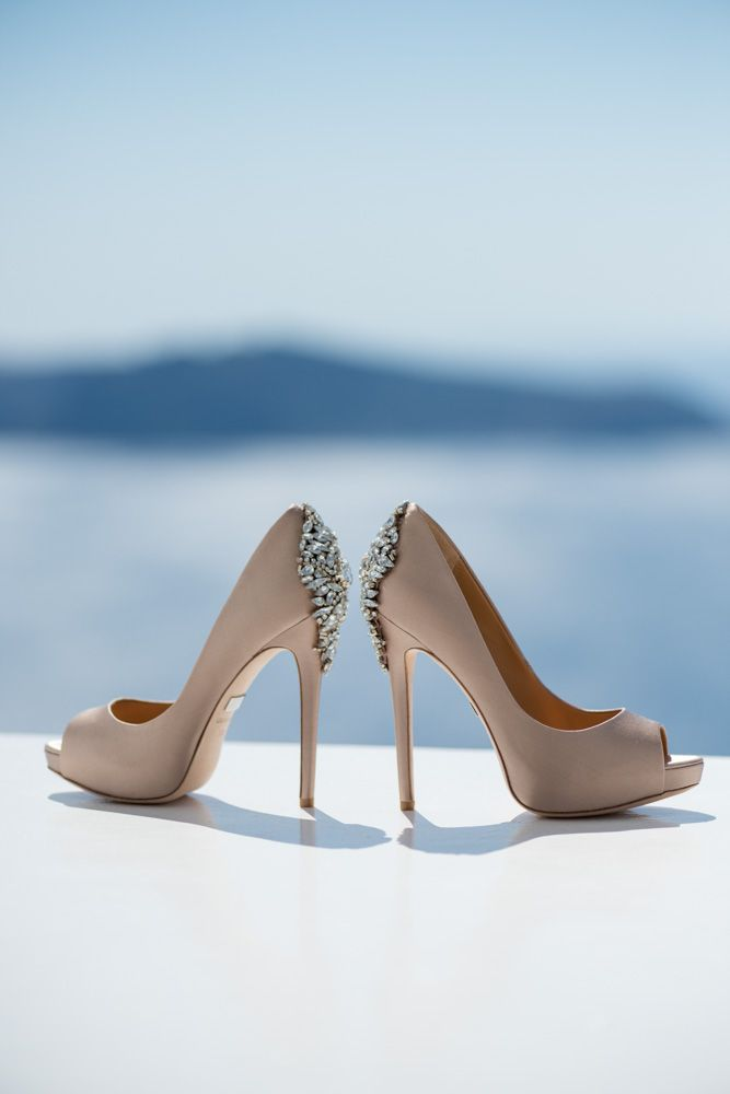 Badgley Mischkal wedding shoes from real destination wedding in Santorini by Phosart Photography & Cinematography