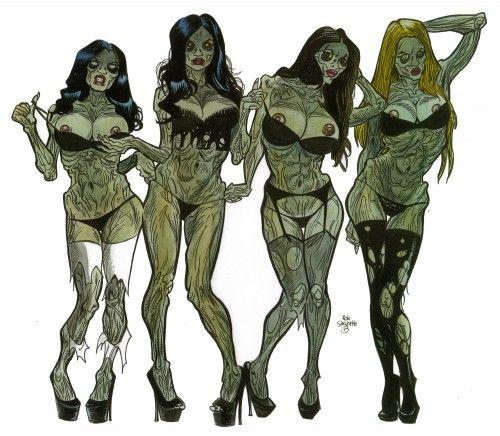 Zombie Pinup Divas #50! - Zombie Art by Rob Sacchetto