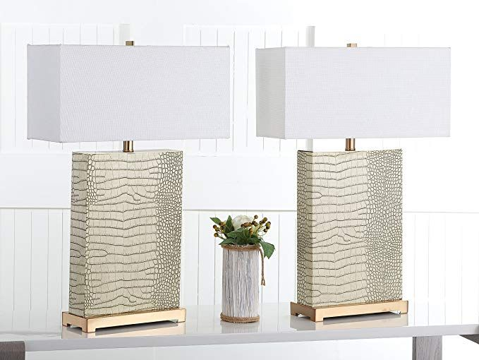 Safavieh Lighting Collection Joyce Cream And Gold Faux Alligator 27 75 Inch Table Lamp Set Of 2 Lamparas Sala De Estar Lamparas Sala De Estar
