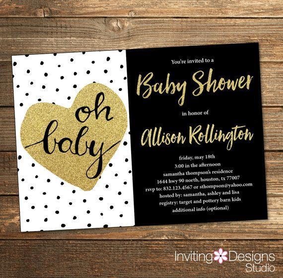 Neutral Baby Shower Invitation / black and gold / Polka Dots / Gender Reveal Party / Gold Heart Black, White, Gold Glitter (PRINTABLE FILE)