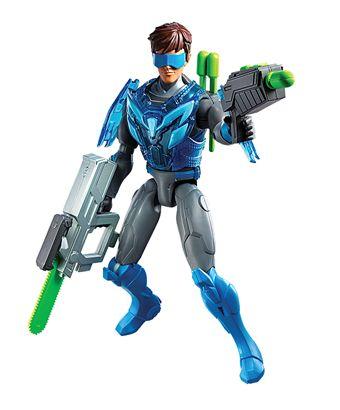 Llegaron los juegos de acción de Max Steel, para viajar a un mundo de aventuras y salvar al mundo de sus principales enemigos.  Viene con dos armas que se conectan para formar un súper rifle, una de esas armas lanza dardos. Incluye ademas una armadura desmontable blindada.