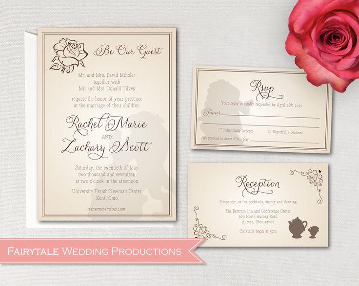 Disney Fairytale Beauty & the Beast Be Our Guest Wedding Invitation Set RSVP Reception Accomodation Registry Cards - DIY Digital Printable by FairytaleWeddingPro on Etsy https://www.etsy.com/listing/504855995/disney-fairytale-beauty-the-beast-be-our